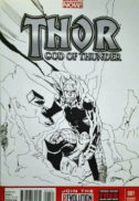 ARta originala benzi desenate comics original art thor drawing