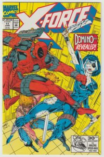 """First appearance of 'real' Domino (Neena Thurman). """"Friendly Reminders"""" Cover pencils by Rob Liefeld, inks by Trevor Scott. Friendly Reminders, script by Rob Liefeld (Plot) by Fabian Nicieza, pencils by Mark Pacella, inks by Dan Panosian; Deadpool invades the X-Force complex to confront """"Domino,"""" really his old shapeshifting girlfriend Vanessa who has been spying on Cable and crew. Cover price $1.25."""