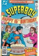 """The reason why Jonathan and Martha Kent have been putting an extra candle on Clark's cake every year since his eighth birthday, and what it has to do with Suberboy's alien abduction, is revealed in """"The Most Important Year of Superboy's Life!"""" Script by Cary Bates, pencils by Kurt Schaffenberger, inks by David Hunt. Cover by Schaffenberger & Dick Giordano. Cover price $0.40."""